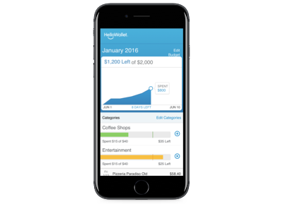 image of budgeting UI displayed on an iPhone
