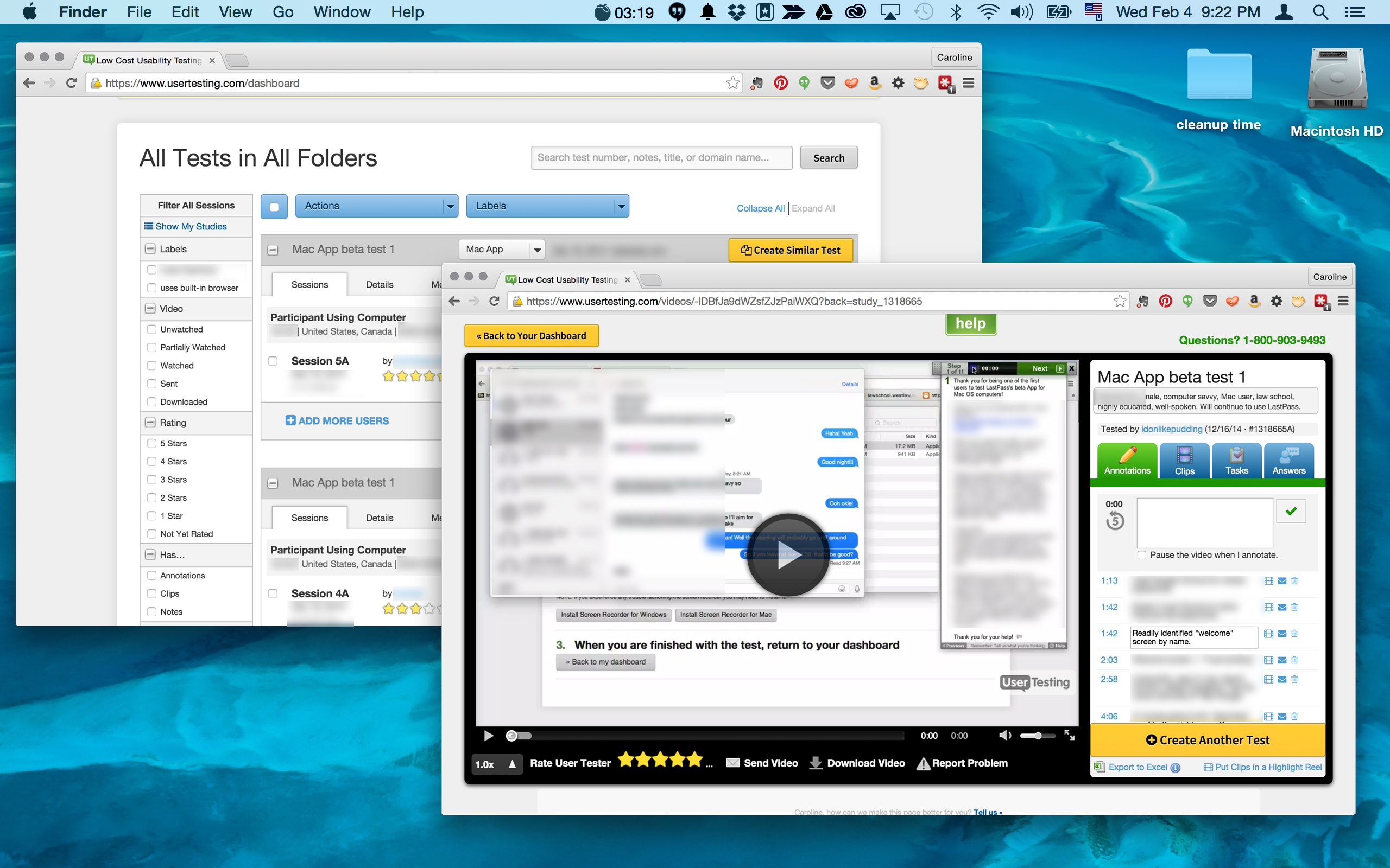 image of user tests in progress